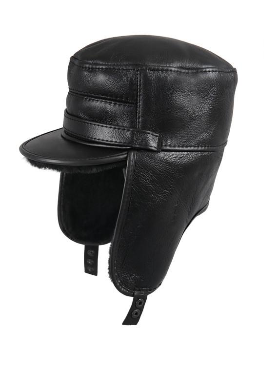 Shearling Sheepskin Visor Elmer Fudd Winter Fur Hat - Solid Black