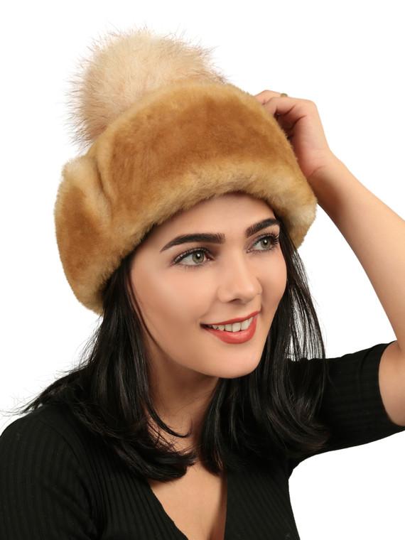 Women's Shearling Sheepskin Hat with Fox Pom Pom - Tan