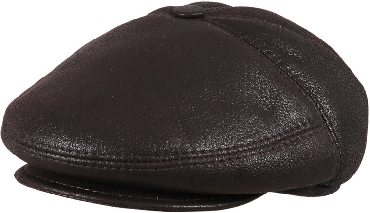 Men's Leather Shearling Sheepskin 5 Panel Ivy Driving Cap Brown