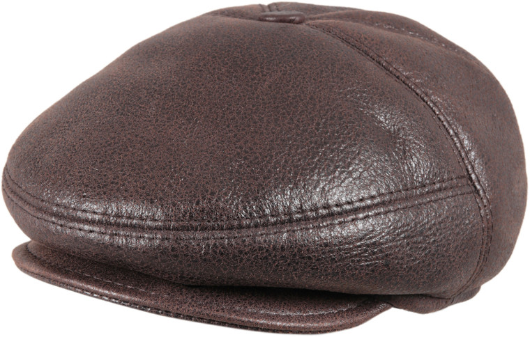 Men's Leather Shearling Sheepskin 5 Panel Ivy Driving Cap Cashmere