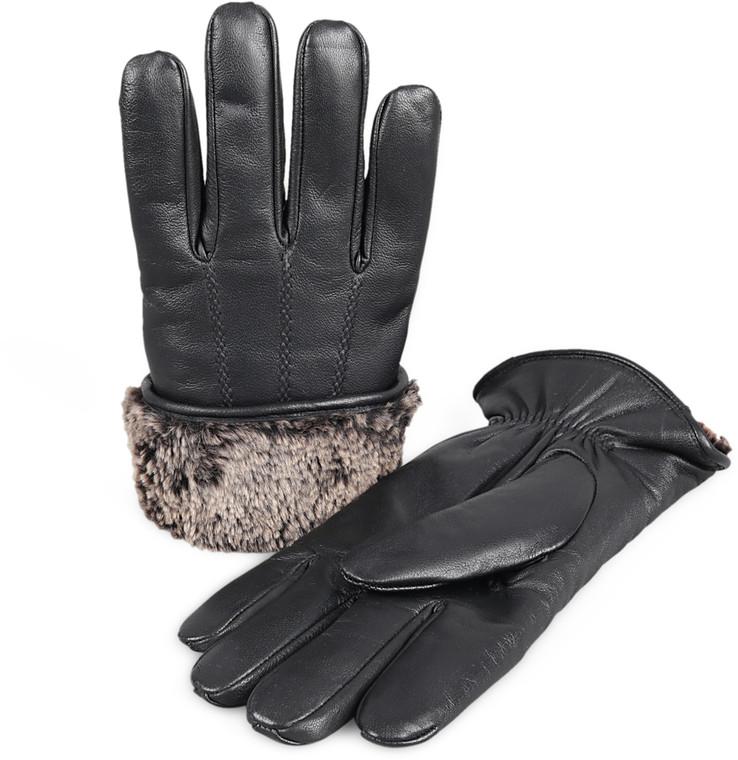 Men's Premium Shearling Sheepskin Fur Lined Leather Gloves - Black