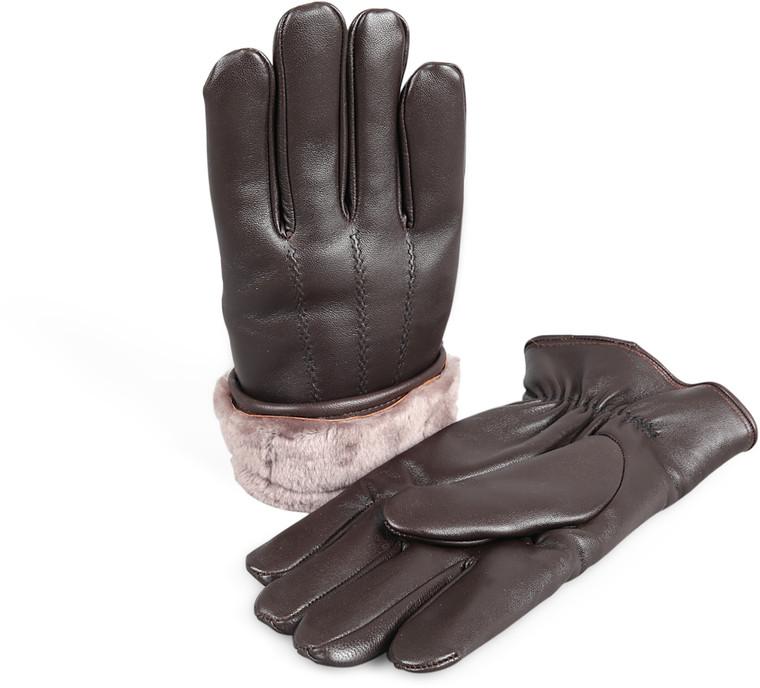 Men's Premium Shearling Sheepskin Fur Lined Leather Gloves -Brown