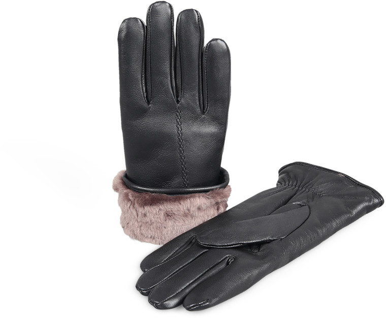 Women's Premium Shearling Sheepskin Fur Lined Leather Gloves Black