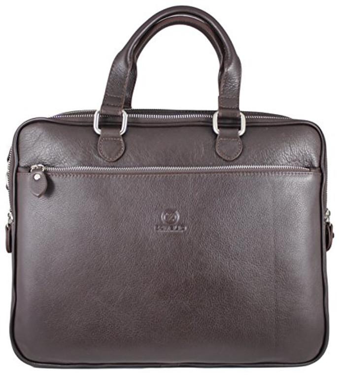 Men's Rikard Genuine Leather Business Briefcase Messenger Bag Brown