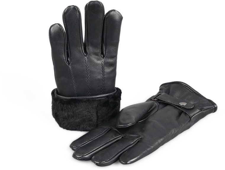 Men's Premium Shearling Sheepskin Fur Lined Leather Gloves Snaps Black