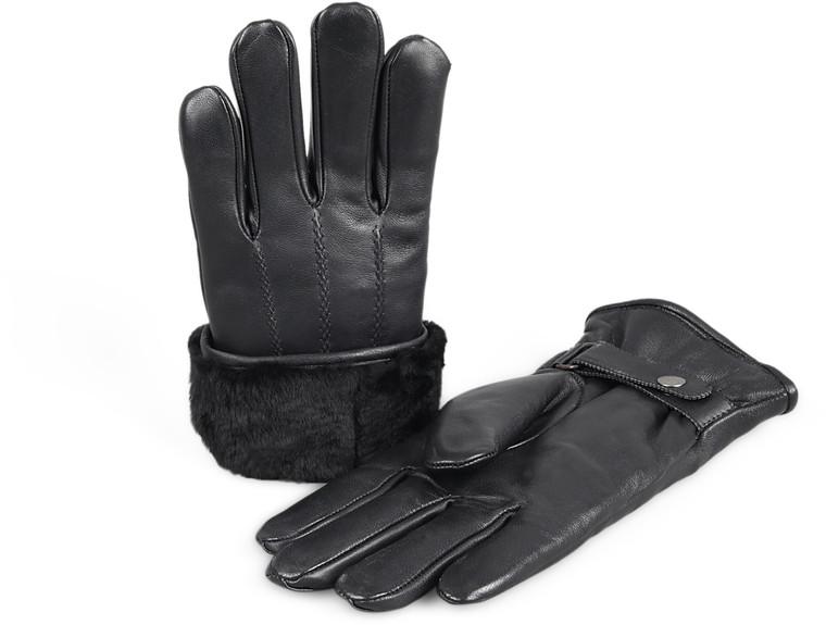 Men's Premium Shearling Sheepskin Fur Lined Leather Gloves Snaps Black