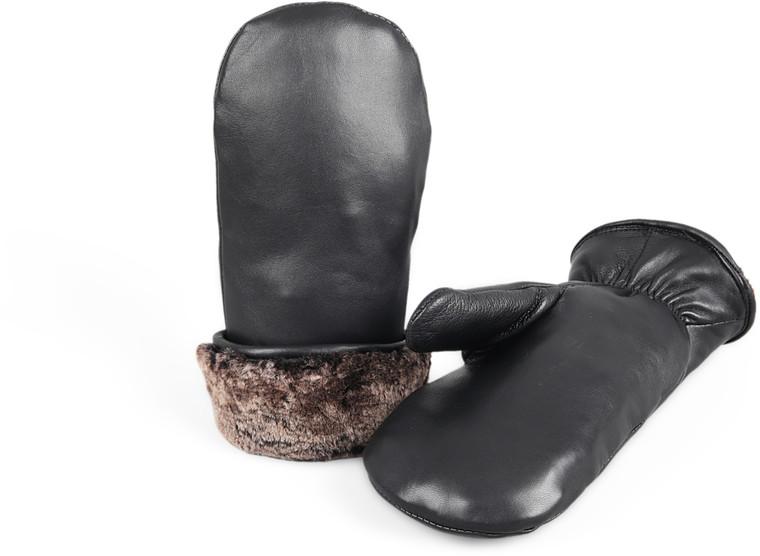 Unisex  Premium Shearling Sheepskin Fur Lined Leather Mittens Black