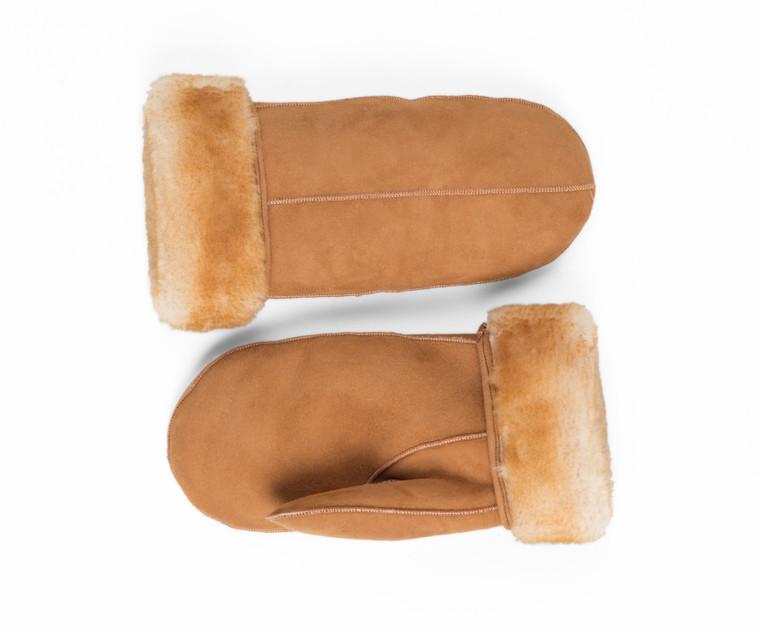 Men's Premium Shearling Sheepskin Leather Fur Mittens Tan
