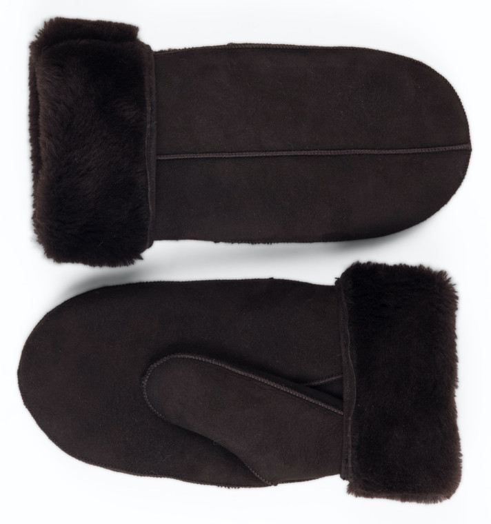 Men's Premium Shearling Sheepskin Leather Fur Mittens Brown Suede