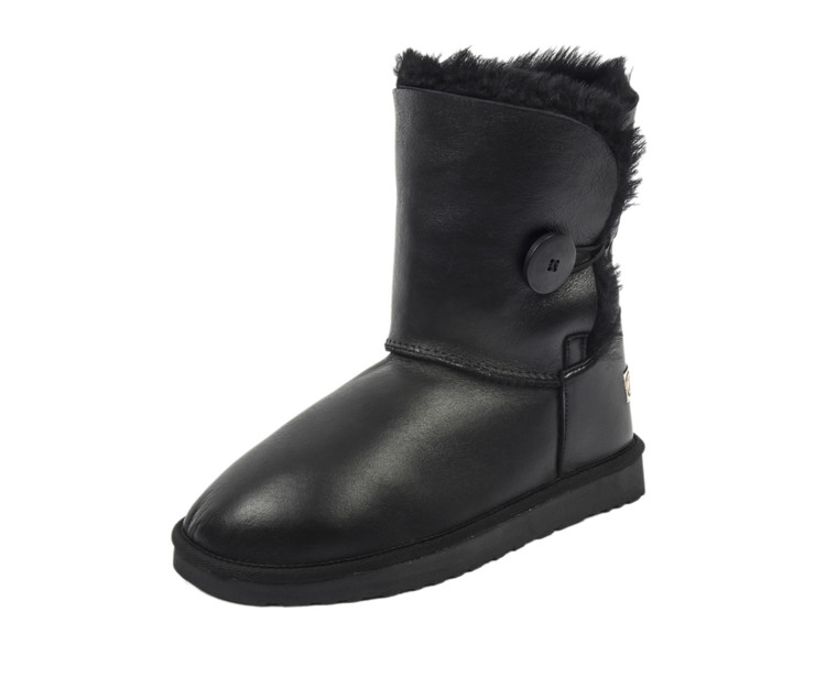 sheepskin boots with buttons black color