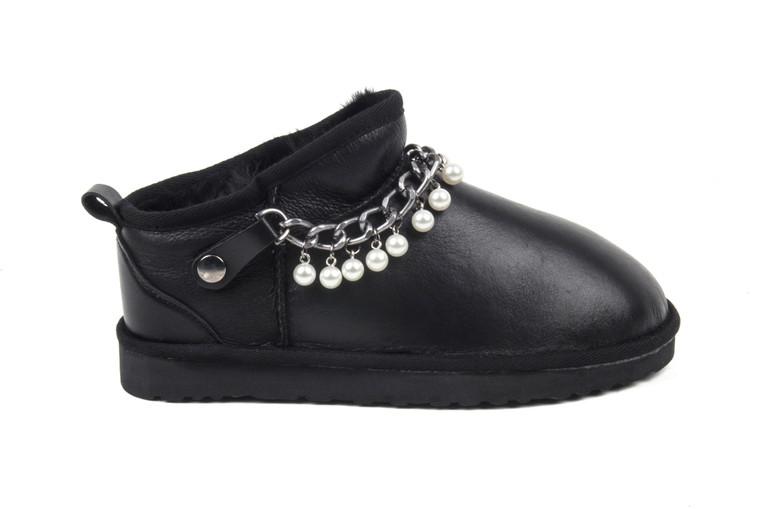 Women's Genuine Sheepskin Slipper - Black