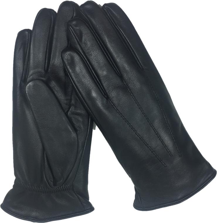 Men's Genuine Leather Gloves Fleece Lined Black -1