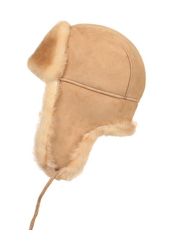 Kids Shearling Sheepskin Aviator Fur Hat - Tan