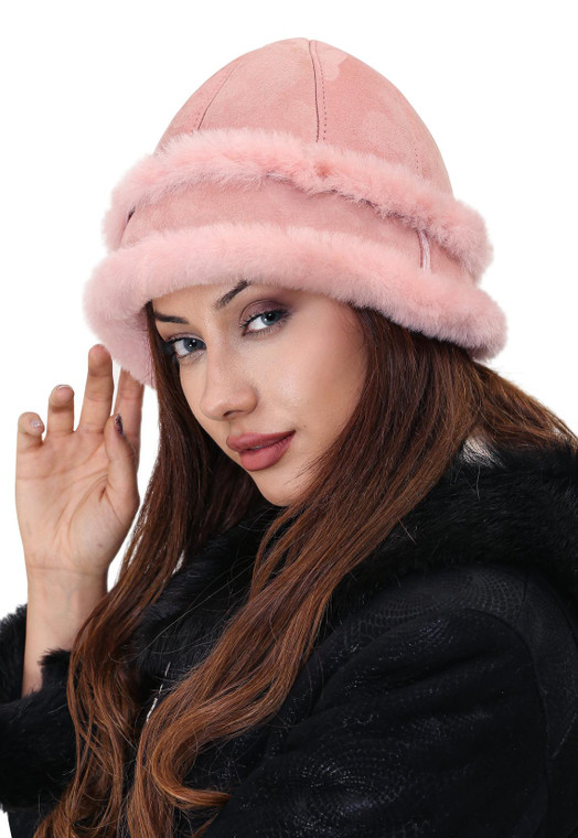 womens pink sheepskin hat