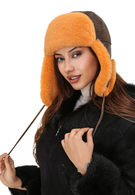 sheepskin hat orange color