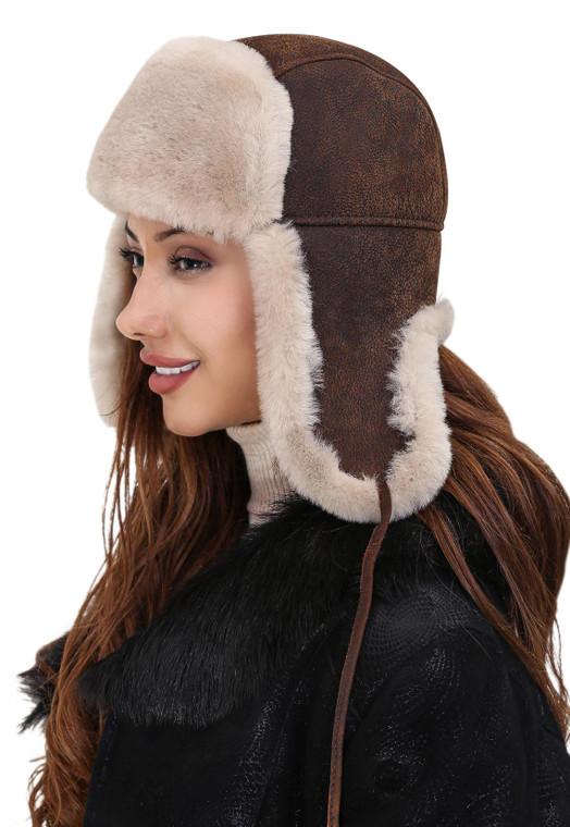 Sheepskin hat - vintage color