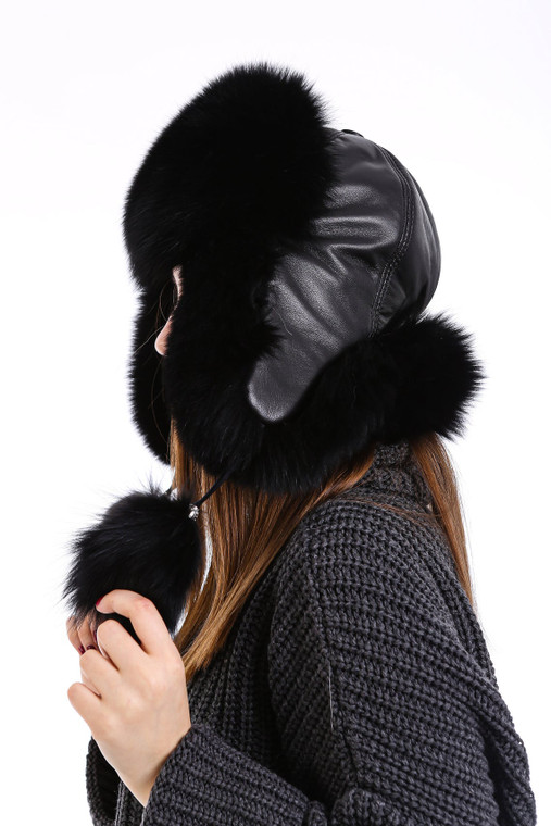 Women's 100% Real Fox Fur Hat S-XL Premium Aviator Russian Ushanka Trapper Winter Genuine Leather Fox Fur Hat - Black