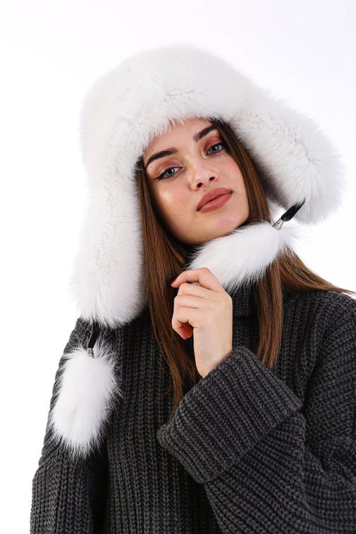 Women's 100% Real Fox Fur Hat S-XL Premium Aviator Russian Ushanka Trapper Winter Genuine Leather Fox Fur Hat - White