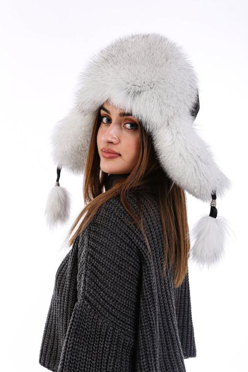 Women's 100% Real Fox Fur Hat S-XL Premium Aviator Russian Ushanka Trapper Winter Genuine Leather Fox Fur Hat - Shadow