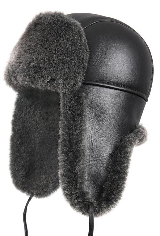 Shearling Sheepskin Aviator Winter Fur Hat - Black