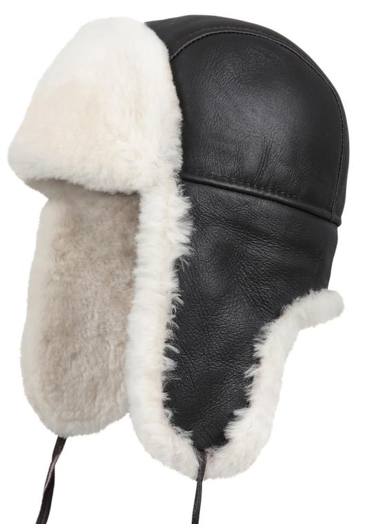 Shearling Sheepskin Aviator Fur Hat - Brown/Beige