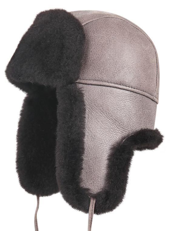 Shearling Sheepskin Aviator Winter Fur Hat - Gray