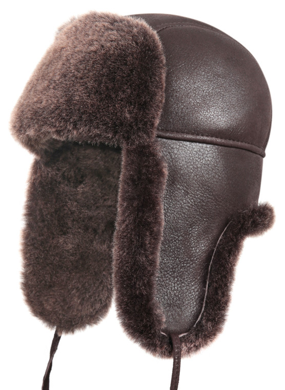 Shearling Sheepskin Aviator Winter Fur Hat - Brown
