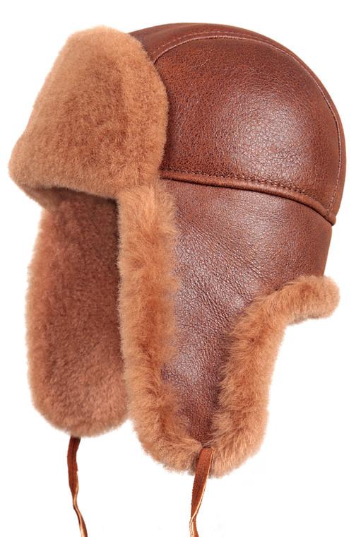 Shearling Sheepskin Aviator Fur Hat - Peach Brown