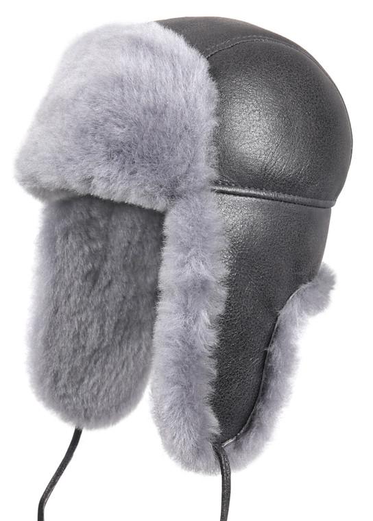 Shearling Sheepskin Aviator Winter Fur Hat - Antrasit