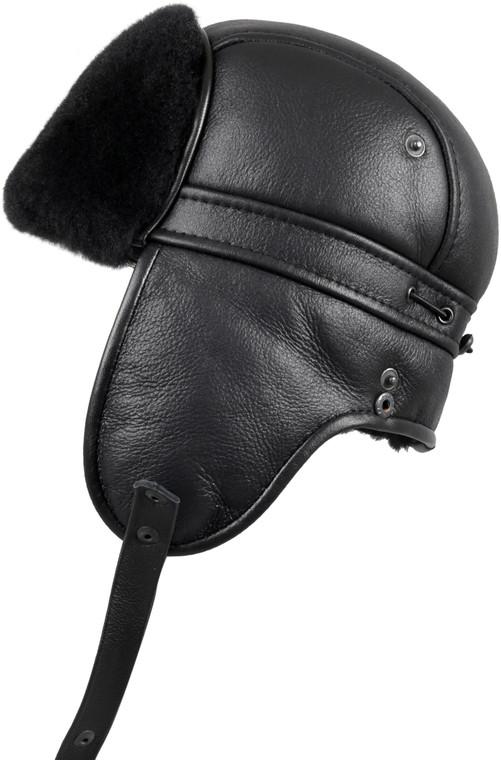 Shearling Sheepskin Biker Trapper Fur Hat - Solid Black