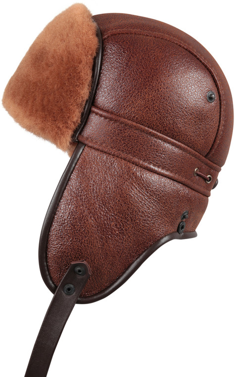 Shearling Sheepskin Biker Trapper Fur Hat - Peach Brown
