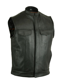 DS189A Concealed Snap Closure, Milled Cowhide, Scoop Collar & Hidden Zipper