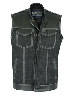DM900 Men's Leather/Denim Combo Vest