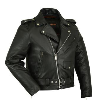 DS730 Men's Classic Plain Side Police Style M/C Jacket