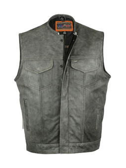 DS191V Concealed Snaps, Premium Naked Cowhide, Hidden Zipper, w/o Collar - Gray