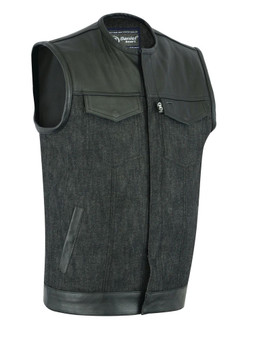 DM901 Men's Leather/Denim Combo Vest Without Collar