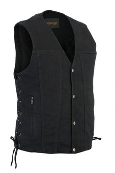 DM905BK Men's Single Back Panel Concealed Carry Denim Vest