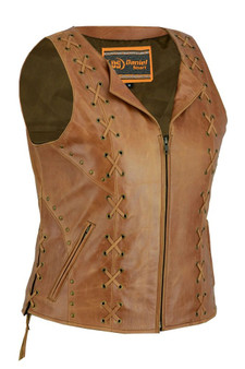 DS236 Women's Brown Zippered Vest with Lacing Details