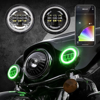 4.5in Chrome/Black Harley Running Light RGB XKchrome Bluetooth App Controlled Kit with Switchback Halo White DRL + Amber Turn Signal