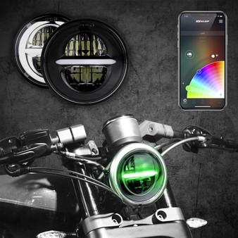 "5.75"" RGB LED Harley Headlight XKchrome Bluetooth App Controlled Kit w/ Color Changing DRL Feature"