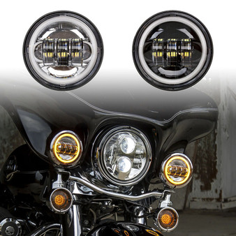 "4.5"" MOTORCYCLE LED PASSING LIGHTS KIT WITH AMBER HALO TURN SIGNAL"