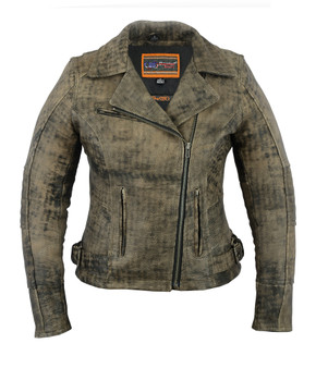 DS836 Women's Updated Stylish Antique Brown M/C Jacket
