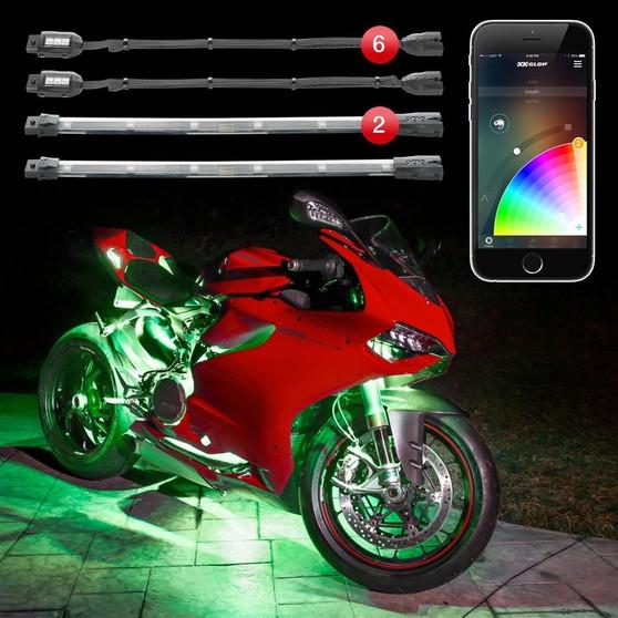 6 Pod 2 Strip XKchrome App Control Motorcycle LED Accent Light Kit