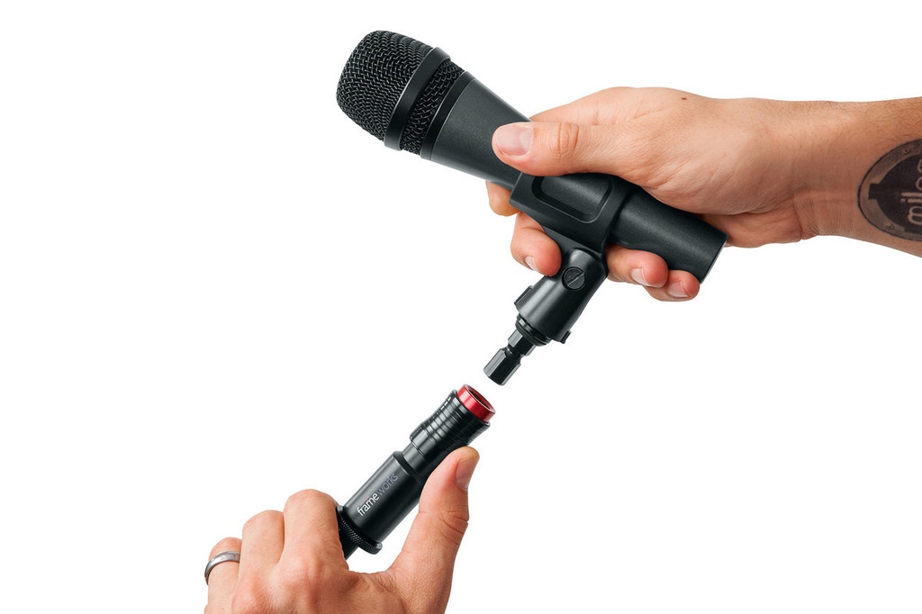Picture of Frameworks Quick Release Mic Attachment being removed
