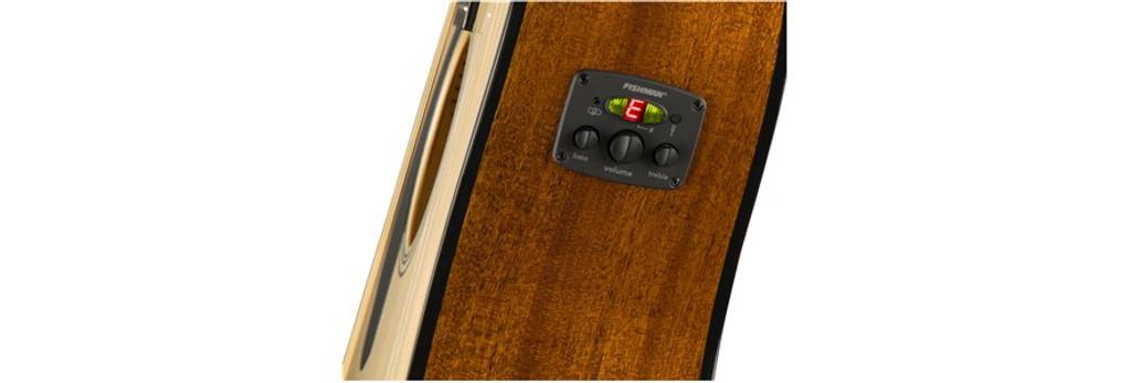 Fender CD60SCELHN Left-Handed Electronics Closeup