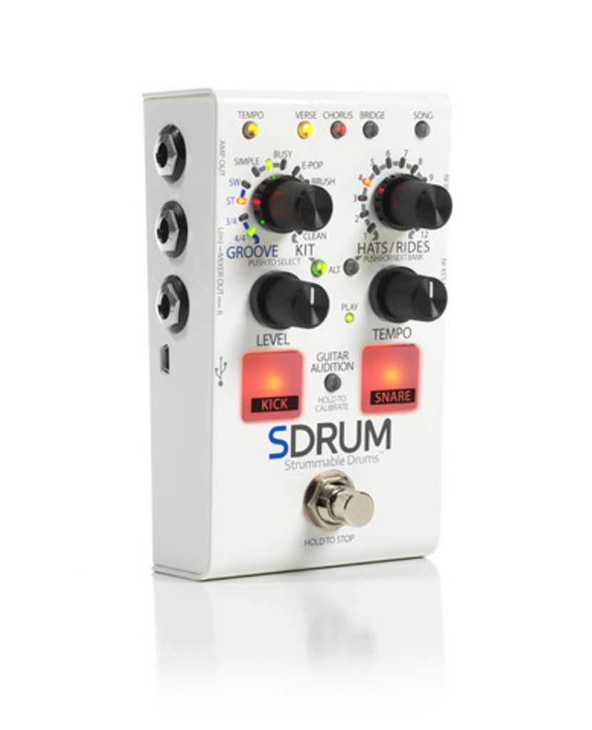 Digitech Sdrum Strummable Drums Effect Pedal  Offset Front Facing