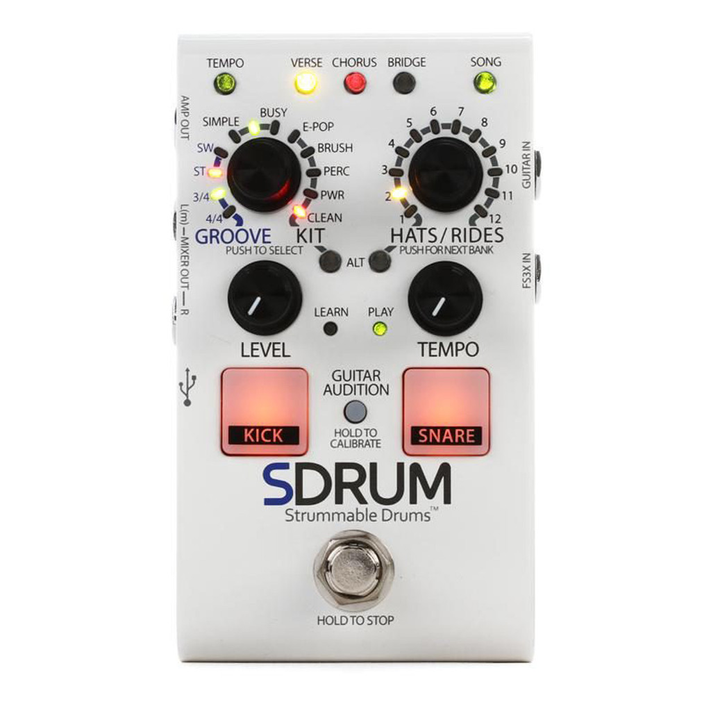 Digitech Sdrum Strummable Drums Effect Pedal Front