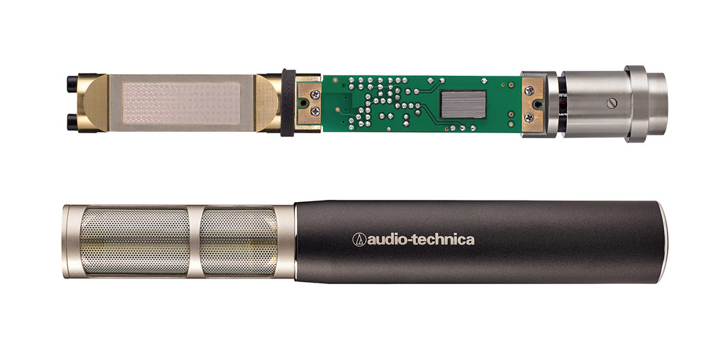 Audio Technica AT5045   Cardioid studio condenser instrument microphone, side-address with XLRM-type output.