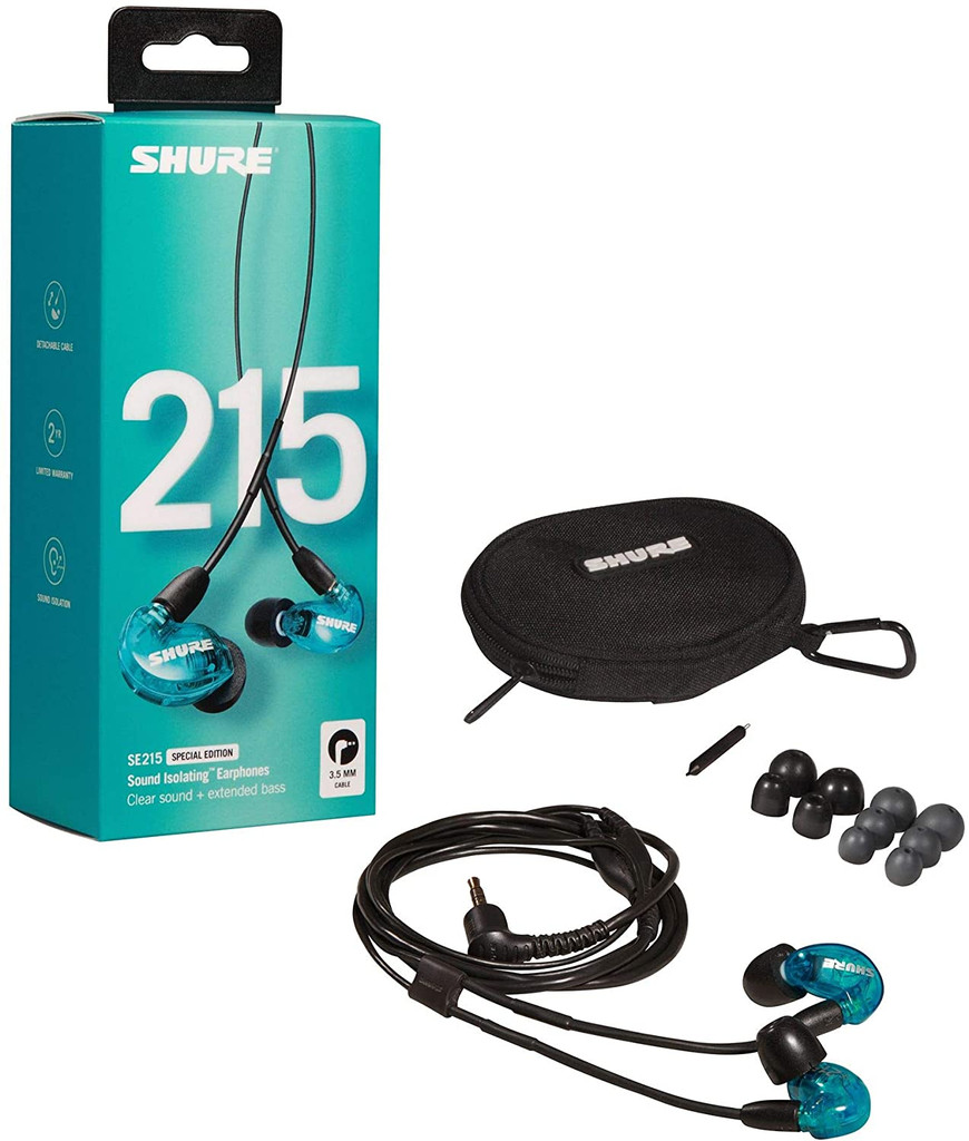 Shure SE215SPE Professional Sound Isolating Earphones with Single Dynamic MicroDriver - Blue