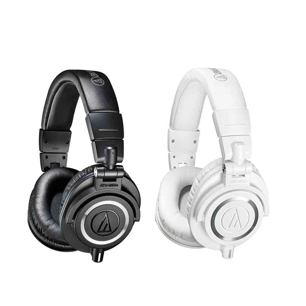 Audio-Technica ATHM50X Closed Back dynamic Monitor Headphones  White